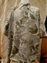 Vintage Campia Moda Hawaiian Floral Style Green Shirt Men's XLT Aloha 10... - $13.85
