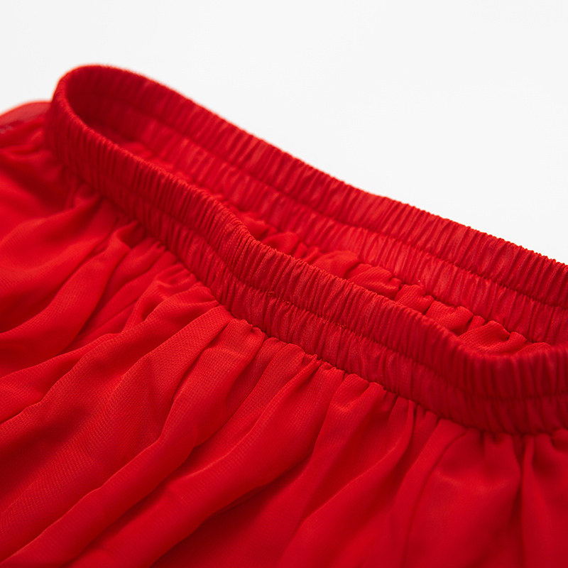 Women's High Waist Full Long Chiffon Skirt Red Chiffon Maxi Party Evening Skirt