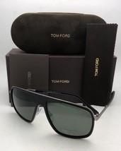 Polarized TOM FORD Sunglasses QUENTIN TF 463 02R 60-13 Black Frames Green Lenses - $459.98