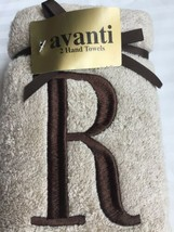 "AVANTI Hand TOWEL Set Of 2 NEW MONOGRAMED Letter ""R"" Free SHIPPING - $39.99"