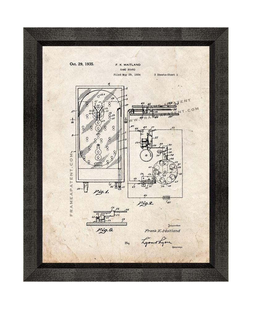 Primary image for Pinball Game Patent Print Old Look with Beveled Wood Frame