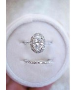 2Ct Oval Diamond Halo Engagement Wedding Bridal Set Ring 14k White Gold ... - $90.69