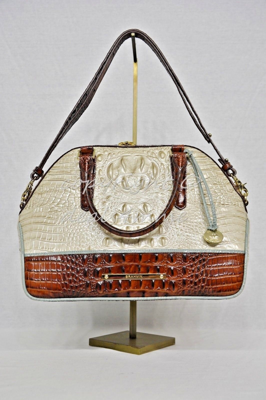 NWT Brahmin Hudson Satchel/Shoulder Bag in Linen Tri-Texture Beige, Pecan & Teal image 4
