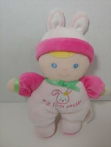 Prestige My First Easter Bunny ears Baby Doll Blonde Hair soft plush rat... - $9.89