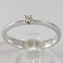 Anillo de Oro Blanco 750 18Ct, Solitario con Diamante, Ct 0.05 , Made In Italy image 1