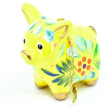 Handcrafted Painted Ceramic Yellow Pig Confetti Ornament Made in Peru image 2
