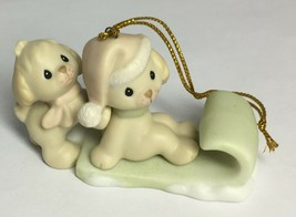 Precious Moments PUPPIES ON SLED Ornament 272892 Sword Mark 1997  - $14.69