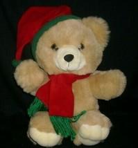 "14"" VINTAGE CHRISTMAS KIDS OF AMERICA BROWN TEDDY BEAR STUFFED ANIMAL PL... - $29.45"