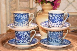 SET 4PC SET VINTAGE JAPAN PHOENIX BLUE WHITE SMALLER DEMI TEA CUPS & SAU... - $44.99