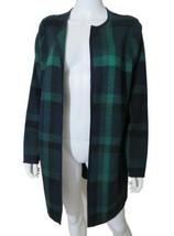 """Talbots Green Blue Plaid Open Sweater Jacket Soft Fine Merino Wool 1X 46"""" B - $39.59"""
