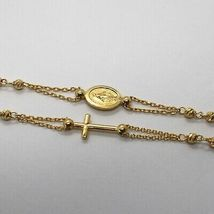 NECKLACE ROSARY YELLOW GOLD 750 18K, MEDAL MIRACULOUS CROSS, SPHERES YOU WORK image 2