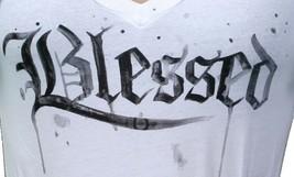 In Gods Hands Womens White Maslo Blessed Deep V-Neck T-Shirt NWT image 2