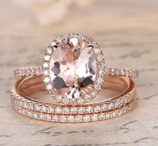Oval AAA Morganite Engagement Wedding Trio Ring Set 14K Rose Gold Over Silver - $120.79
