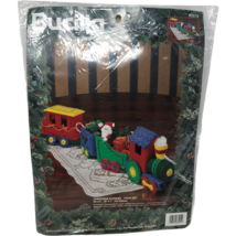 VTG NIP Bucilla Christmas Express Train Set Felt Applique 83215 Stamped Sealed  - $98.99