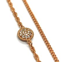 """REBECCA BRONZE ROSE LONG NECKLACE 31.5"""", DOUBLE CHAIN, HEART DISC, B14KRA38 image 3"""