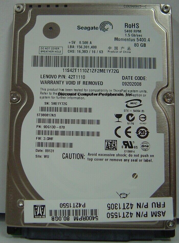 New Seagate ST980817AS 80GB 5400RPM SATA 2.5in 9.5MM Hard Drive Free USA Ship