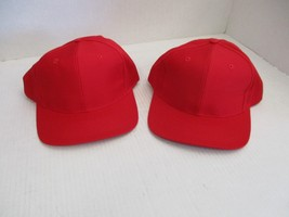 1 PAIR OF NEW VINTAGE ALL RED CAPS/HATS-6 PANEL-BUCKLE+LEATHER STRAP-ATT... - €5,21 EUR