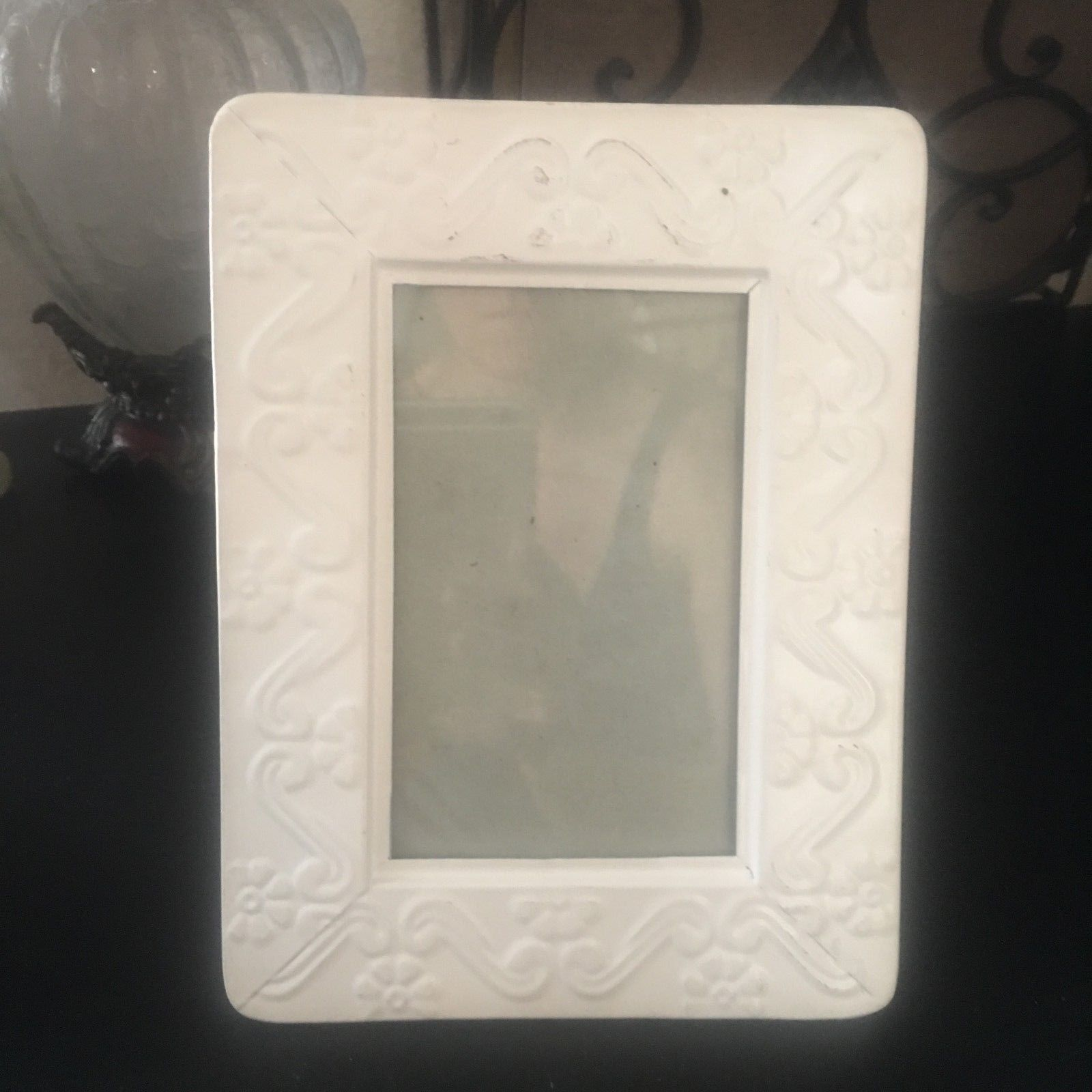 "SHABBY CHIC White Metal Picture Frame 8"" x 6"" VINTAGE Farm House FRENCH COUNTRY image 2"