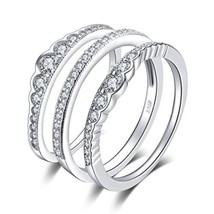 925 Sterling Silver 0.7ct Cubic Zirconia 3 Pcs Stackable Wedding Band An... - $32.73+