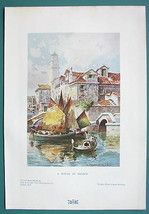 ITALY View in Venice Church Leaning Tower - 1901 Offset Litho Print COLOR - $8.55