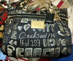Coach Poppy Story Patch Glamour Shoulder Hand Bag Tote Black Gold 15301 - $79.20