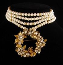 Vintage Robert Demario Brooch - Pearl edwardian choker - necklace set - signed e - $185.00