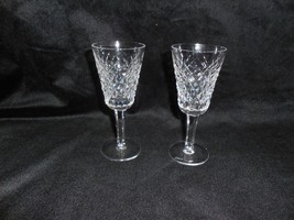 "2 Waterford 24% Lead Crystal ""Alana"" 5 1/8"" Sherry stemmed Glasses, retired - $54.35"