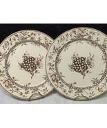 2 Doulton Burslem Oxford Floral Brown Aesthetic Mvmt Transferware Dinner... - $55.44