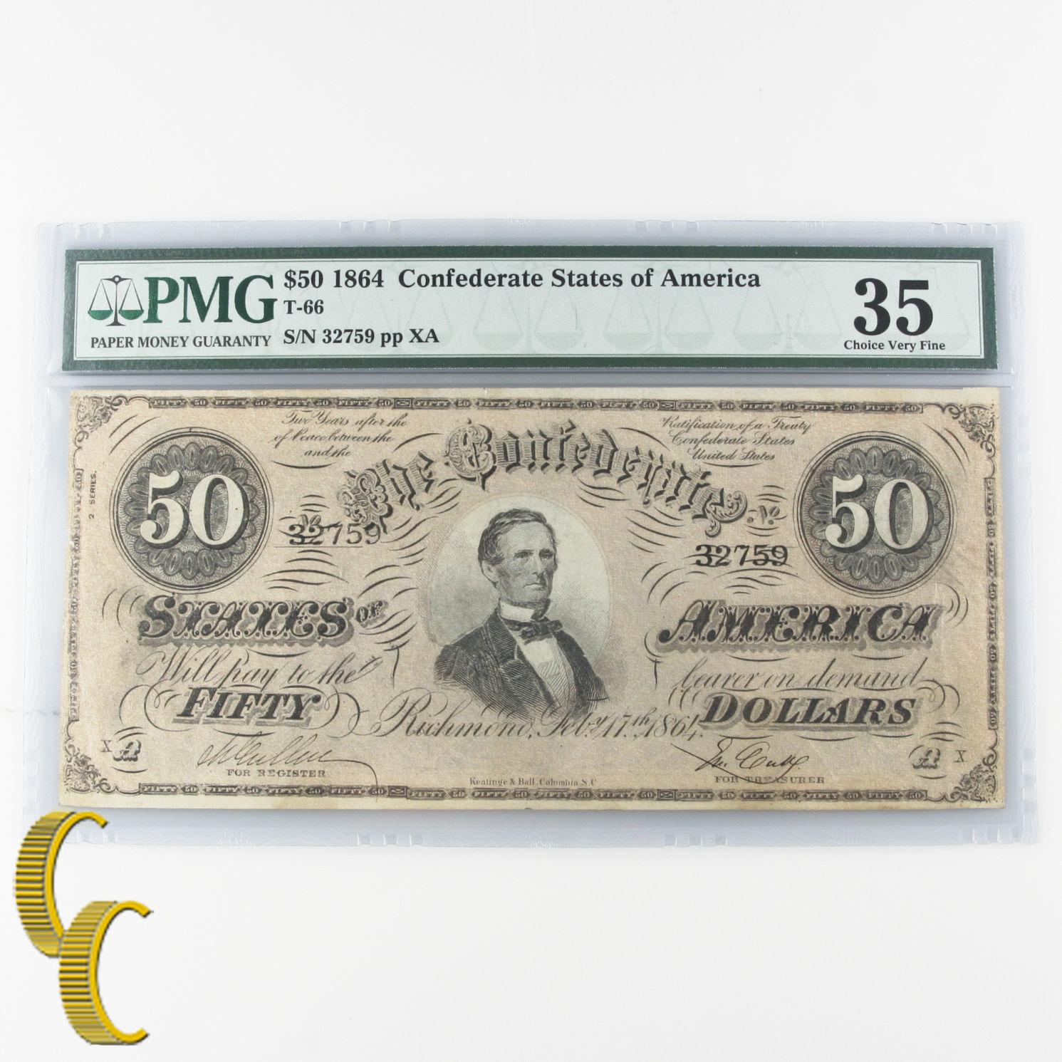 Lot of 5 SECUENCIALES 1864 Confederado graduado Por PMG COMO CH vf-35 & au-50 SN
