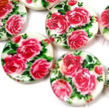 """20mm Pink Rose Flower Mother Of Pearl Disc MOP Beads 16"""" - $20.00"""