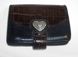 Brighton Black Leather Brown Croc Embossed Silver Heart ID Credit Card W... - $21.00