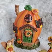 Fall Fairy Garden Set, Pumpkin Fairy House, Tiny Gnome Hut, Autumn Fairy Decor image 5