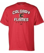 Calgary Flames Men's Reebok Red Prima Italic Hockey Logo T-Shirt - $5.98