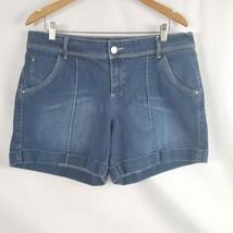 Women's Apt. 9 Casual Shorts 16, Mid Rise Blue Denim Cotton Button Flap ... - $12.87