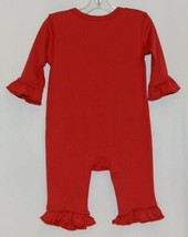 Blanks Boutique Red Long Sleeve Snap Up Ruffle Romper Size 6M image 2