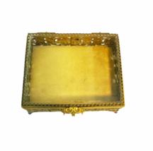 Vintage Regency Ornate Decorative Gold Gilt Tone Box Vanity Jewelry Trinket image 2