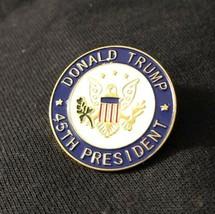 "DONALD TRUMP 45th PRESIDENT GOLD PIN 1 1/4""  METAL w BLUE ENAMEL HAT LAB... - $11.18"