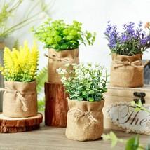 Postral Style Artificial Flowers Potted Hemp Bag Flower Bonsai Miniascap... - $7.50