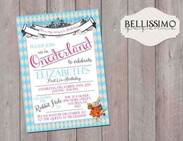 Alice in ONEderland Birthday Invitation Personalized Custom with envelopes - £7.21 GBP