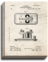 Telegraph Instrument Patent Print Old Look on Canvas - $39.95+
