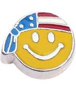 US Flag Patriotic Smiley Face Floating Locket Charm - $2.42