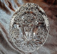 Cut Glass Bowl with of AA18-11905  Vintage Heavy Oval Detailed Etched Design image 2