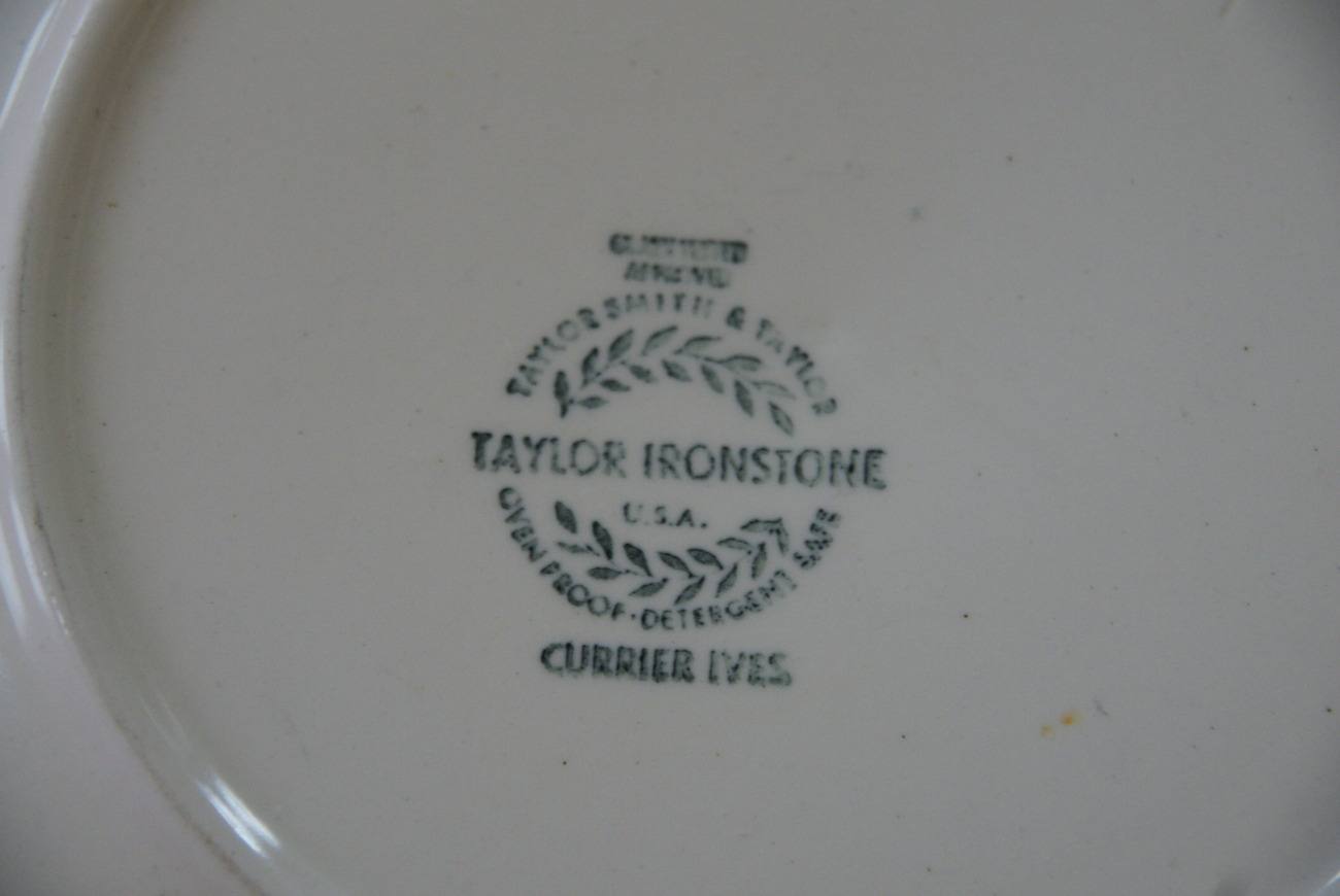 Taylor Smith Taylor Ironstone Currier & Ives Plate USA