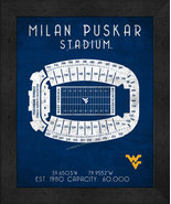 "West Virginia Milan Puskar ""Retro"" Stadium Seating Chart 13x16 Framed Pr... - $39.95"