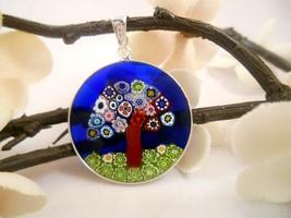 Authentic Italian 18mm Tree of Life Millefiori Pendant in Silver Frame I... - $21.95