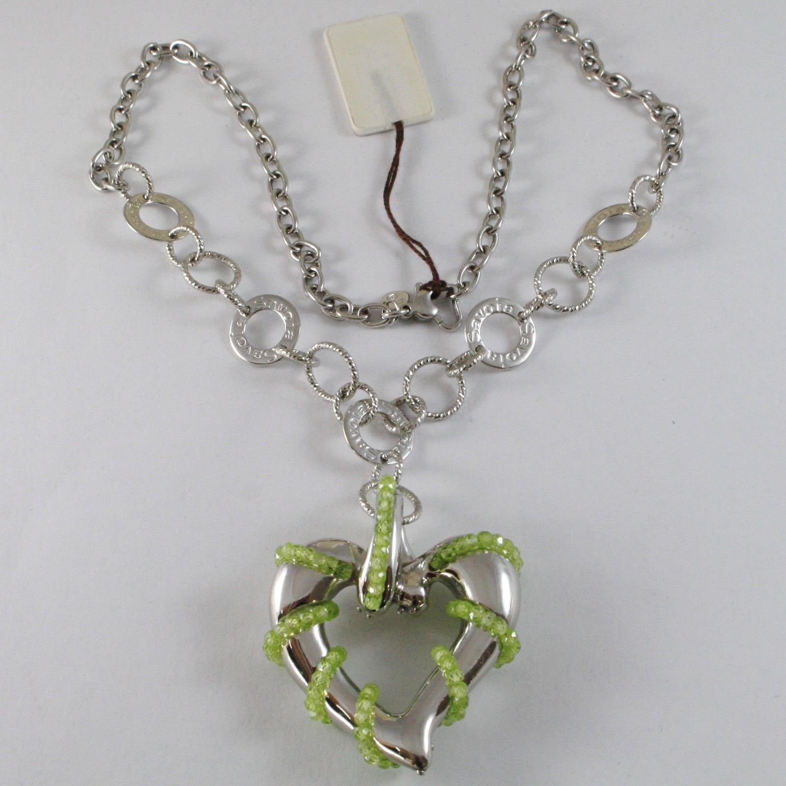 925 STERLING SILVER SAVOIA NECKLACE WITH PERIDOT FINELY WORKED BIG HEART PENDANT