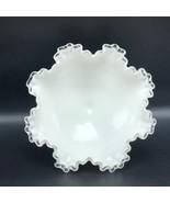 FENTON MILK WHITE GLASS pottery vintage ruffled silver crest bowl crimpe... - $74.25