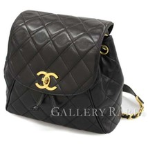 CHANEL Backpack Black Lambskin CC Logo Gold H/W Italy Authentic 4824473 - $2,499.50