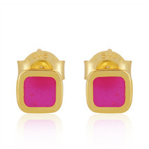 18k Gold Plated Silver Cute Pink Enamel Designer Girls Stud Earrings Jew... - $11.88