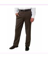 Kirkland Signature™ Men's Wool Flat Front Dress Pant, Brown Herringbone,... - $15.39